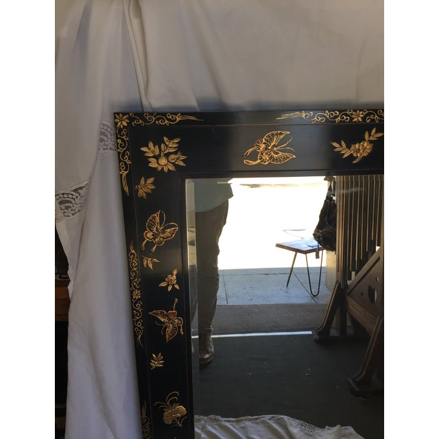 Asian Chinoiserie Wal Mirror Decorated With Butterflies For Sale - Image 3 of 13