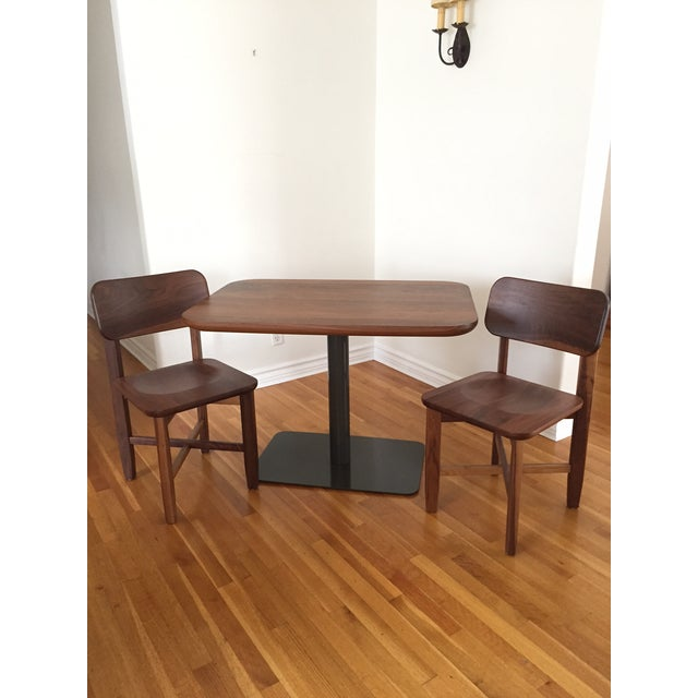 Rich Walnut Cafe Table & 2 Chairs - Image 3 of 9
