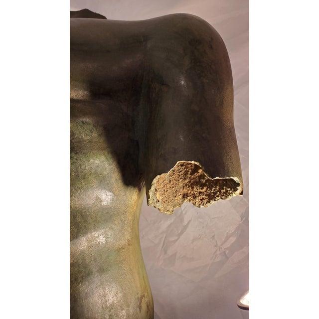 Metal Antique Italian Bronze Life Size Torso W/Stone Base For Sale - Image 7 of 13