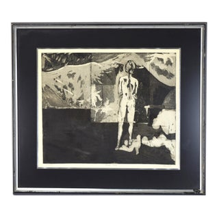 """Vintage Abstract Modernist """"Nude Woman"""" Dark Lithograph Print Signed Kris Love"""