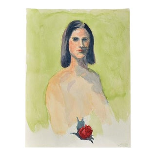 """The Debutante by Clair Seglem Green Portrait Painting of a Nude Woman 15"""" X 12"""" For Sale"""