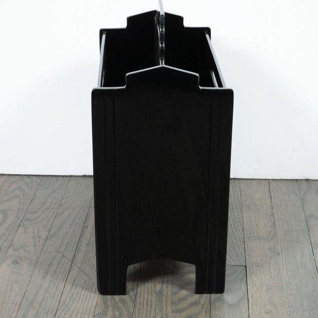 Art Deco Machine Age Skyscraper Style Black Lacquer Magazine Holder For Sale In New York - Image 6 of 7