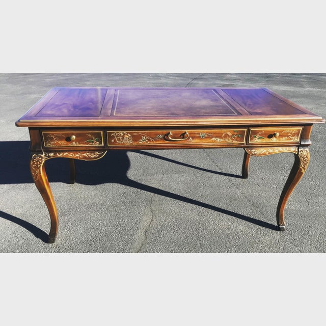 1980s Chinoiserie Drexel Writing Desk With Matching Chair -2 Pieces For Sale - Image 12 of 12