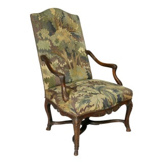 Regency Walnut and Tapestry Armchair For Sale