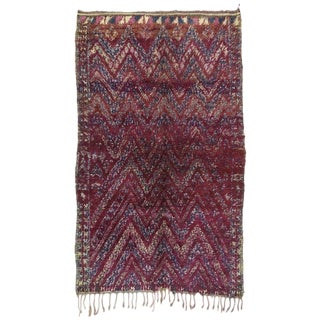 1980's Vintage Beni M'Guild Moroccan Rug- 6′9″ × 11′2″ For Sale