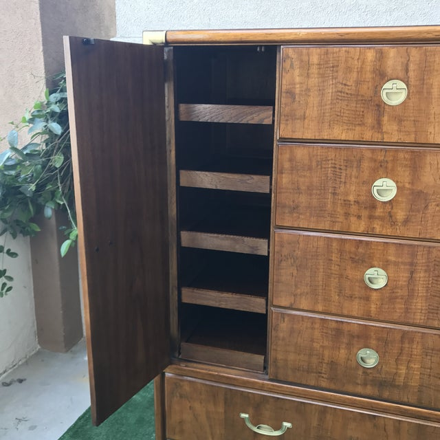 Drexel Accolade Campaign Highboy Dresser For Sale - Image 5 of 9