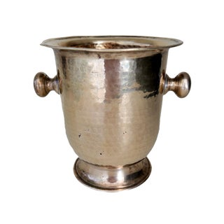 Vintage Gold Brass Champagne Ice Bucket For Sale