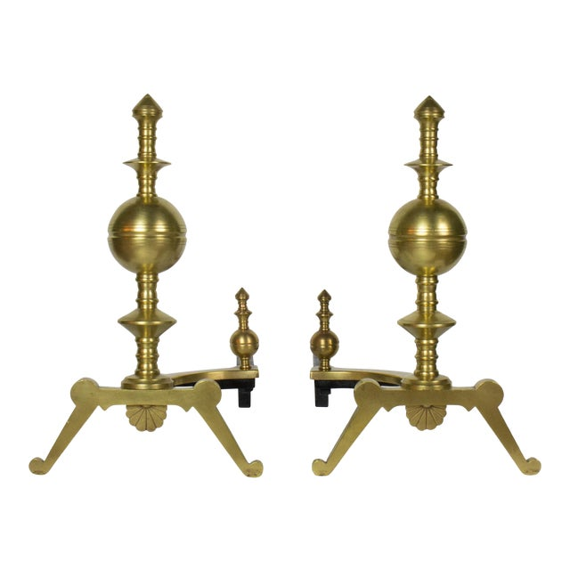 19th Century Victorian Turned Brass Andirons - a Pair For Sale