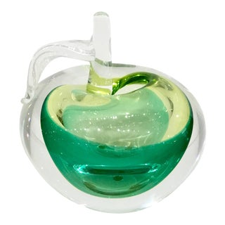 Modern Hand Blown Art Glass Green Apple Sculpture For Sale