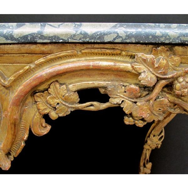 Early 18th Century A Finely Carved Venetian Rococo Giltwood Console with Marble Top For Sale - Image 5 of 7
