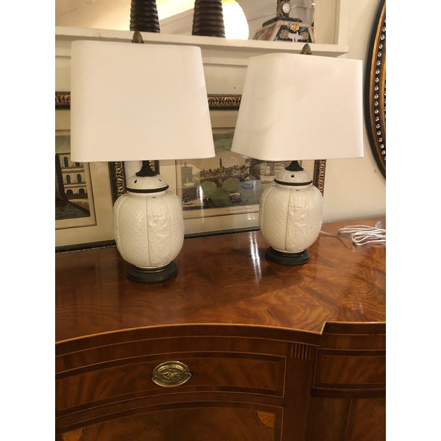 1940s 1940s Vintage Chinese White Ceramic Table Lamps- A Pair For Sale - Image 5 of 8