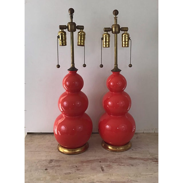 2000 - 2009 Christopher Spitzmiller Three Ball Orange Table Lamps Signed and Dated - a Pair For Sale - Image 5 of 5