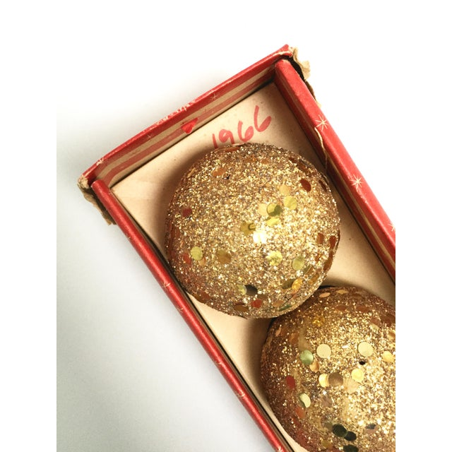Plastic Vintage gold glitter Spangle ball ornaments - Set of 8 For Sale - Image 7 of 12