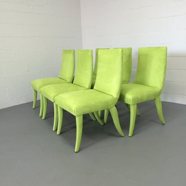 Mid Century Lime Dining Chairs - Set of 6 - Image 4 of 9