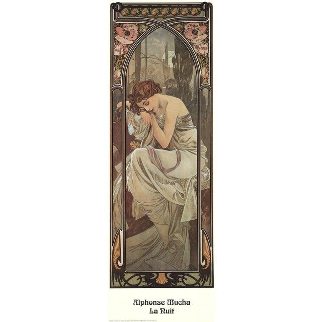 """Art Nouveau Alphonse Mucha La Nuit 35.5"""" X 11.75"""" Poster 1995 Art Nouveau Brown For Sale - Image 3 of 3"""