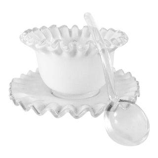 Mid-Century Milk Glass Condiment Set - 3 Pieces For Sale