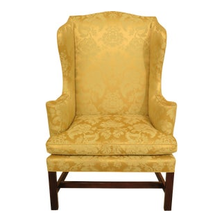 1970s Vintage Cw-12 Silk Damask Colonial Williamsburg Wing Chair For Sale