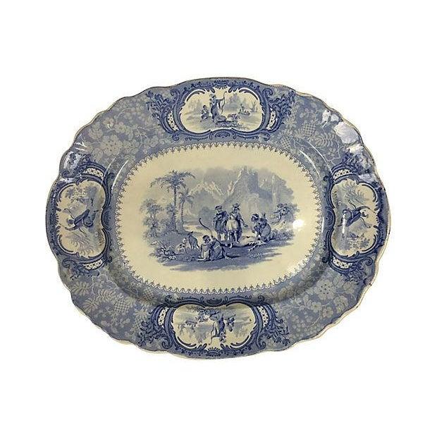 English Blue Transferware Platters - Set of 3 - Image 4 of 5