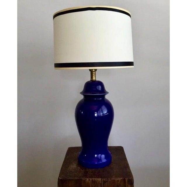 Vintage Blue Porcelain Table Lamp - Image 2 of 6