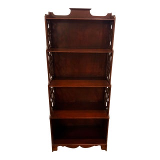 1950s Chippendale Hand Carved Chinoiserie Petite Vintage Wood Book Case For Sale