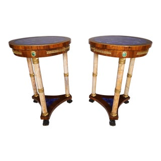 Pair of Circa 1900 French Empire Style Lapis Lazuli Side Tables For Sale