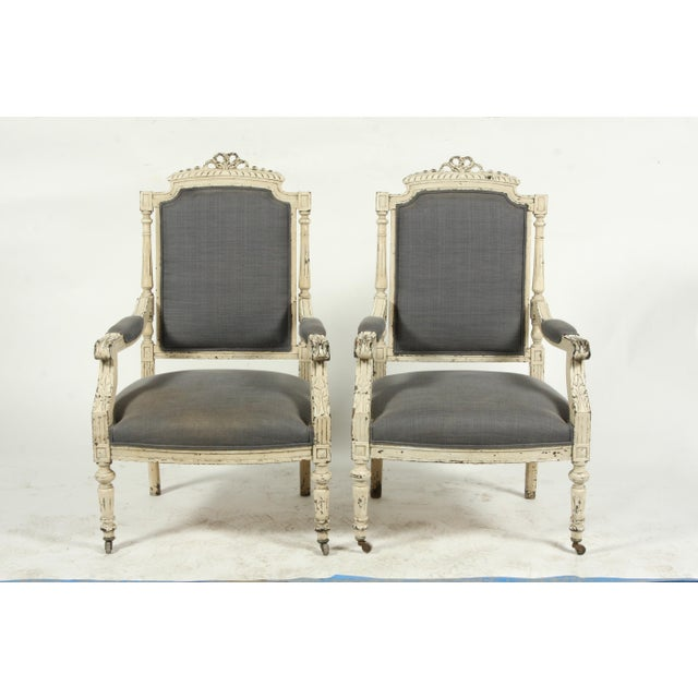 Late 19th-C. French Louis XVI-Style Armchairs, Pair For Sale - Image 11 of 13