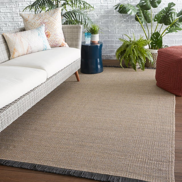 2020s Jaipur Living Savvy Indoor Outdoor Solid Tan Black Area Rug 5'X8' For Sale - Image 5 of 6