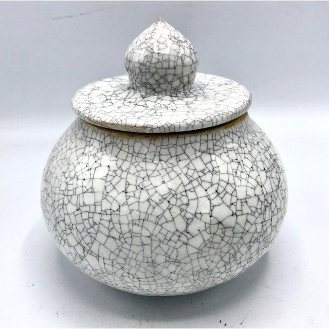 Studio Pottery Signed Crackle Glaze Lidded Ginger Jar For Sale - Image 13 of 13