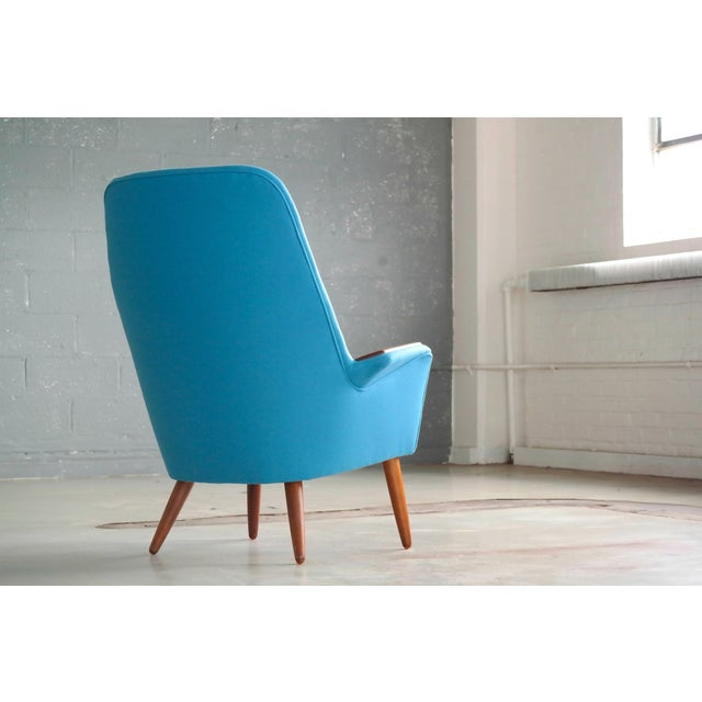 Wood Danish 1950s Lounge Chair with Teak Armrests Upholstered in Kvadrat Divino Wool For Sale - Image 7 of 11