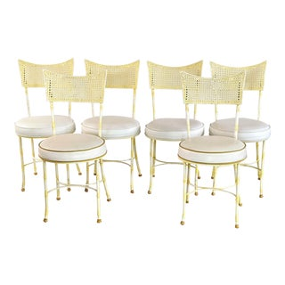 Mid Century Aluminum Faux Bamboo Patio Chairs - Set of 6 For Sale