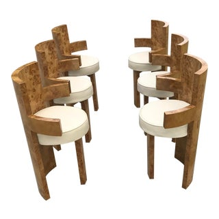 1930s Chippendale Burl Wood Dining Chairs - Set of 6