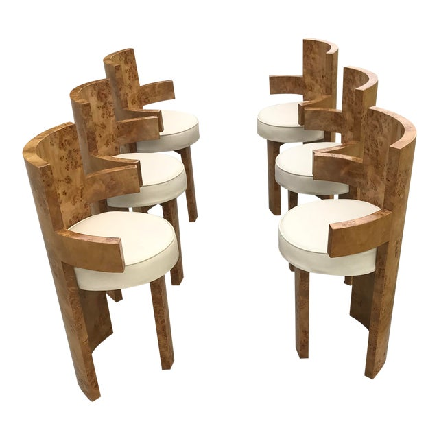 1930s Chippendale Burl Wood Dining Chairs - Set of 6 For Sale