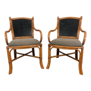 Fong Brothers Faux Bamboo Dining Chairs - Pair 1 For Sale