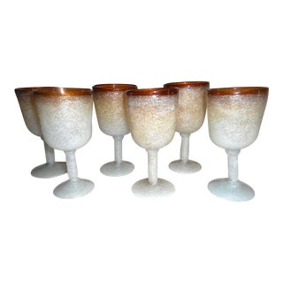 Vintage Mid 20th C. Handmade Murano Pulegoso Drinkware-Six (6) Wine Goblets For Sale