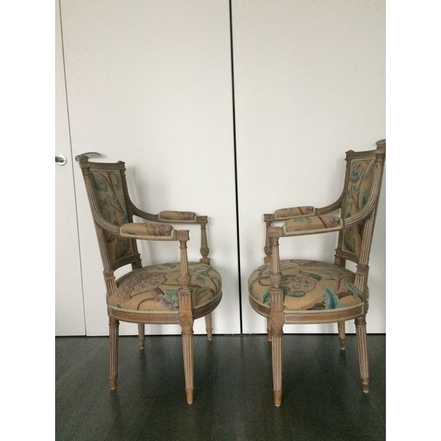 Louis XVI Modern Louis XVI Style Open Arm Chairs- a Pair For Sale - Image 3 of 9