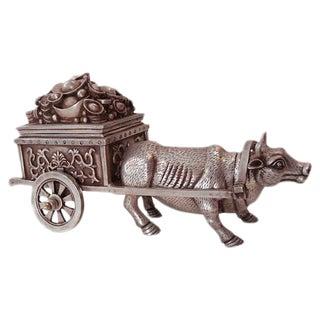 Bronze Money Box w/ Ox Chariot