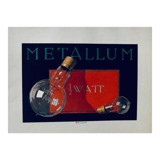 1923 Austrian Art Deco Poster, Metallum #2 (Black Background) For Sale
