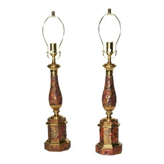19th C. French Faux Marble Tole Lamps - A Pair For Sale