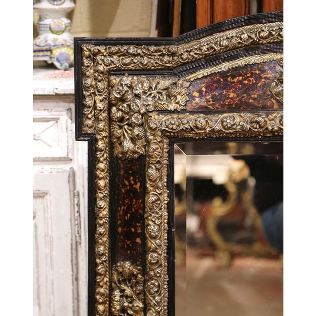 19th Century French Napoleon III Repousse Brass and Ebony Overlay Wall Mirror For Sale - Image 4 of 11