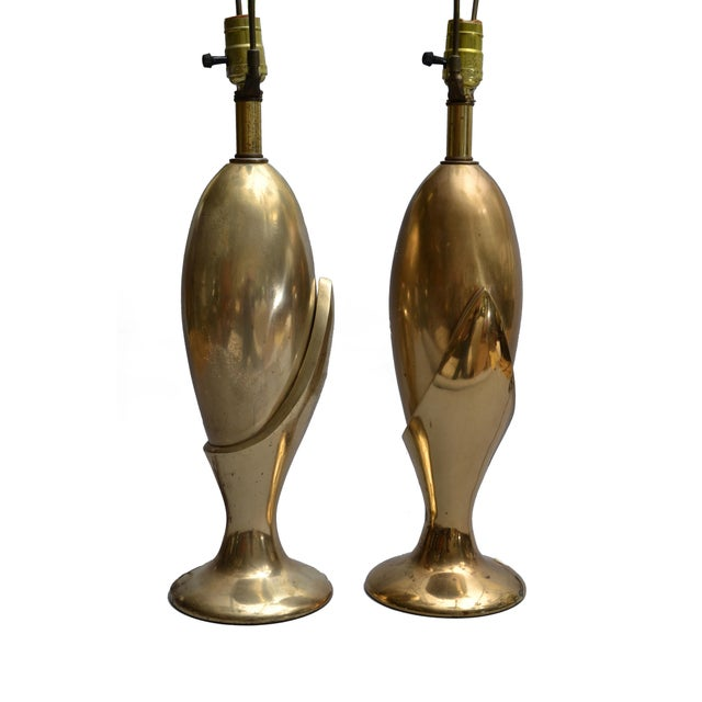 Gold Pair of Art Deco Brass Table Lamps by Heyco For Sale - Image 8 of 9