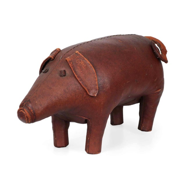 1960s Vintage Stitched Leather Pig Footstool by Dimitri Omersa for Abercrombie & Fitch - Image 2 of 11