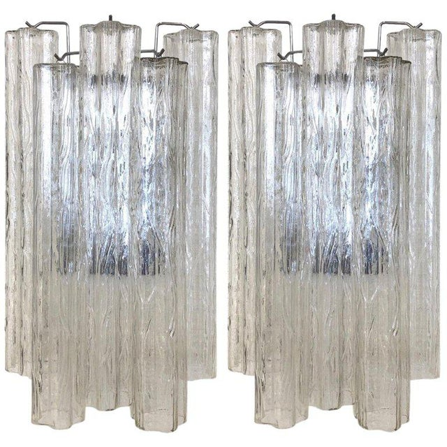 "Chrome Pair of Large Italian Murano Glass ""Tronchi"" Wall Sconces by Venini For Sale - Image 7 of 7"