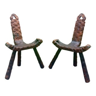 Pair of 3-Leg Spanish Cavalier Chairs For Sale