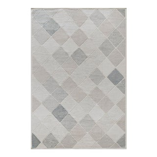Mansour Modern Swedish Inspired Handwoven Wool Rug For Sale