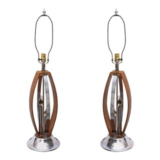 Gorgeous MCM Wood and Chrome Tables Lamps From Denmark, 1959 For Sale