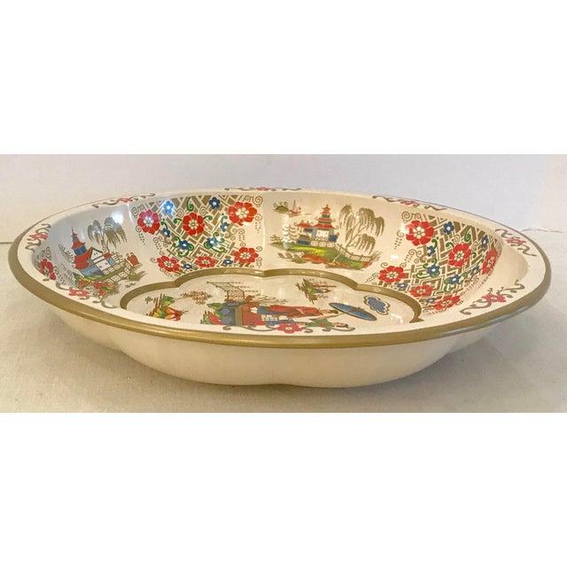 Vintage Oriental Theme English Tin Bowl For Sale In Dallas - Image 6 of 9