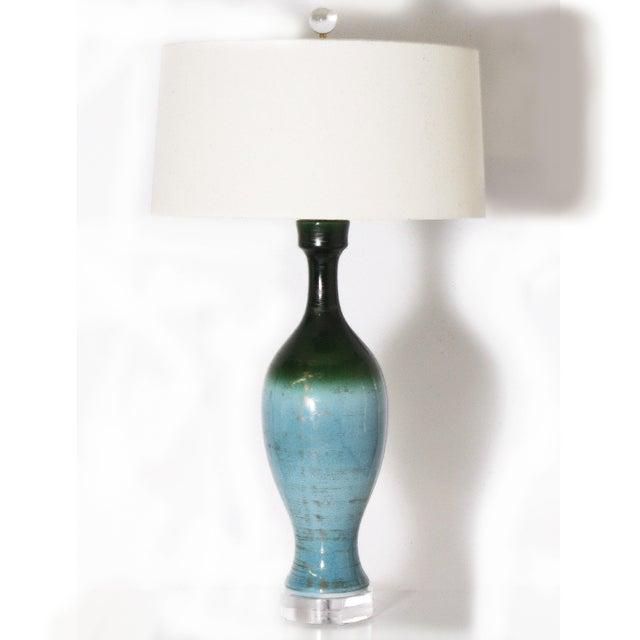 Blue Ombre Glaze Urn Lamp, C. 1960 For Sale - Image 8 of 8