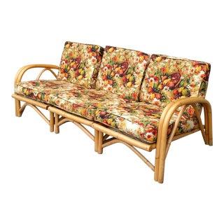 "72"" Tiki Style Mid-Century Modern Rattan Sectional Sofa"