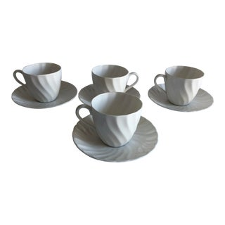 Vintage Royal Tuscan by Wedgwood Cocoa /Teacups & Saucers - Service for 4 For Sale