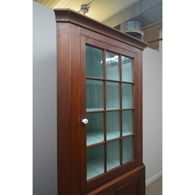 Brown 19th Century Antique Pine China Cabinet For Sale - Image 8 of 12